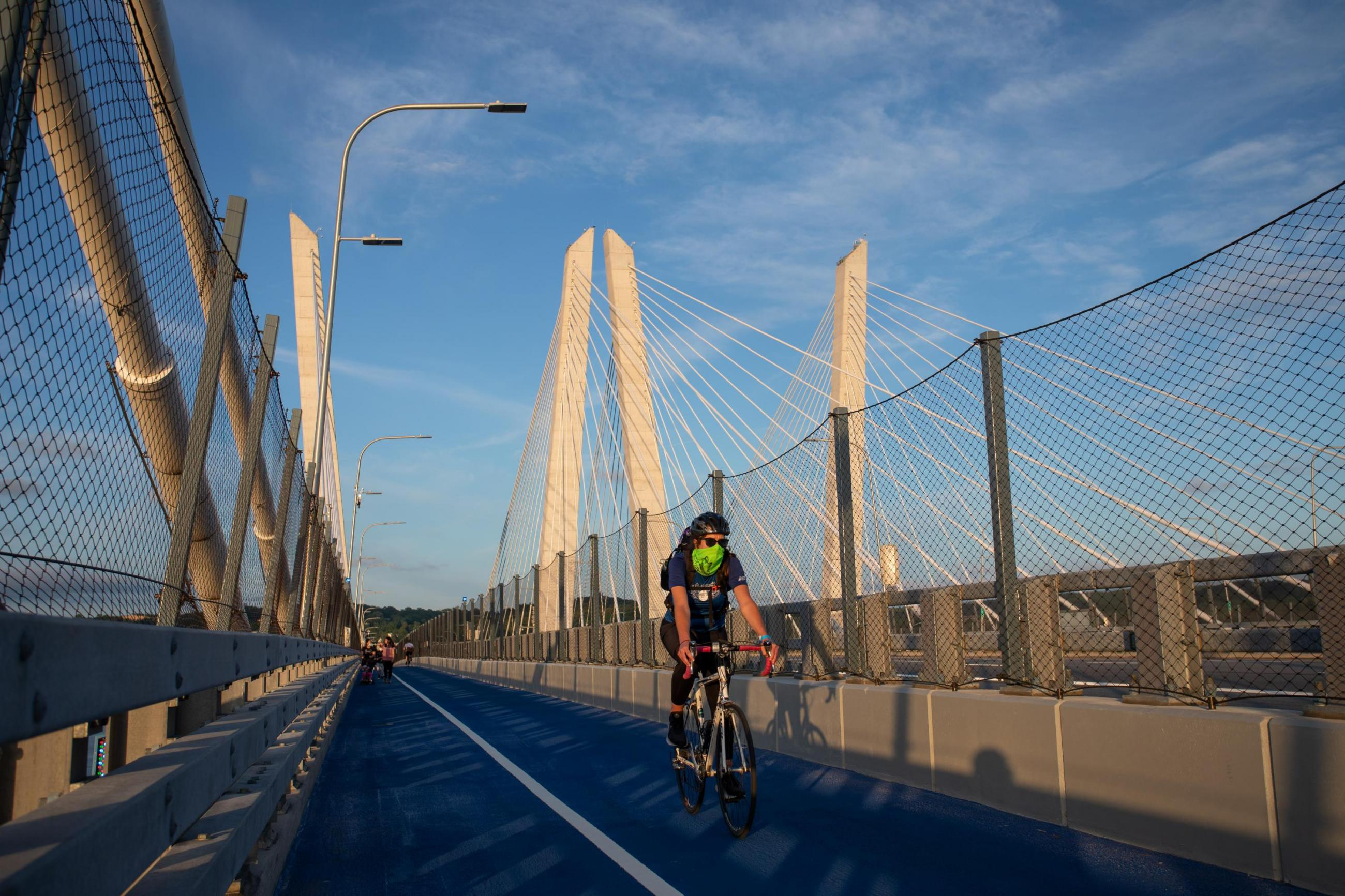 cyclist on main span